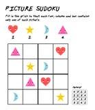 Jogo do enigma de Sudoku com imagens Jogo educacional da lógica Caçoa a folha da atividade ilustração stock