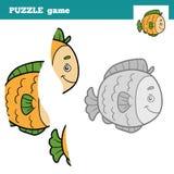 Jogo do enigma para crianças, peixes Fotografia de Stock Royalty Free