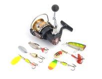Jogo do equipamento de pesca Foto de Stock Royalty Free