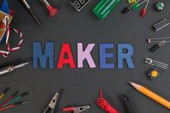 Jogo do fabricante da partícula, jogo do fabricante do projeto da eletrônica imagem de stock