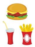 Jogo do fast food Hamburger, fritadas, bebida Fotografia de Stock Royalty Free