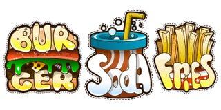 Jogo do fast food Hamburguer com soda e fritadas Ilustração do vetor Imagens de Stock