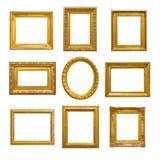 Jogo do frame dourado do vintage Fotografia de Stock Royalty Free