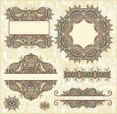Jogo do frame floral do vintage Imagens de Stock Royalty Free