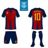 Jogo do futebol ou molde do jérsei do futebol para o clube do futebol Zombaria curto da camisa do futebol da luva acima Uniforme  Imagens de Stock