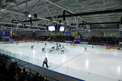 Jogo do Gelo-hocky entre Ucrânia e Kazakhstan Foto de Stock Royalty Free