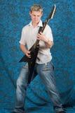 Jogo do guitarrista Fotografia de Stock