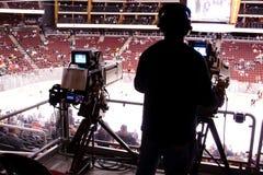 Jogo do hóquei do NHL - câmeras da transmissão Imagens de Stock