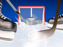 Jogo do hóquei em gelo no gelo Imagens de Stock