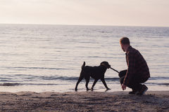Jogo do homem com cão Imagem de Stock Royalty Free