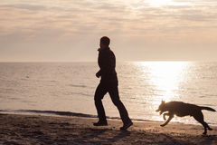 Jogo do homem com cão Fotografia de Stock