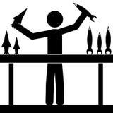 Jogo do homem com foguetes Fotos de Stock Royalty Free