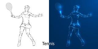 Jogo do a lápis desenho do jogador de tênis ilustração stock