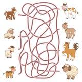 Jogo do labirinto: ajude o novo a encontrar seus pais (os animais de exploração agrícola) ilustração royalty free