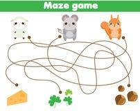 Jogo do labirinto Animais da ajuda para encontrar o alimento Atividade para crianças e crianças ilustração stock