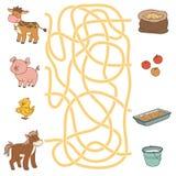 Jogo do labirinto (animais e alimento de exploração agrícola) Vaca, porco, galinha, cavalo Fotografia de Stock
