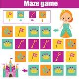 Jogo do labirinto Caçoa a folha da atividade Labirinto da lógica com navegação do código ilustração royalty free