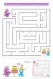 Jogo do labirinto com monstro bonitos Foto de Stock