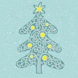 Jogo do labirinto da forma da árvore de Natal ilustração stock