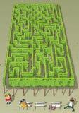Jogo do labirinto das árvores do parque da paisagem ilustração stock