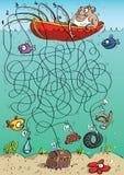 Jogo do labirinto do pescador ilustração royalty free