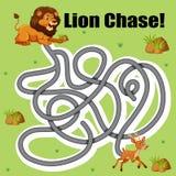 Jogo do labirinto dos cervos da perseguição do leão ilustração stock
