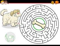Jogo do labirinto dos desenhos animados com cão e osso ilustração stock