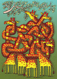 Jogo do labirinto dos girafas ilustração stock