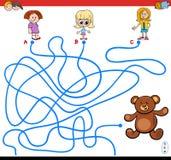 Jogo do labirinto dos trajetos com meninas e peluche Imagem de Stock Royalty Free