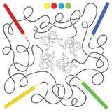 Jogo do labirinto e página da atividade da coloração para crianças Imagens de Stock Royalty Free