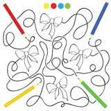 Jogo do labirinto e página da atividade da coloração para crianças Foto de Stock Royalty Free