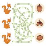 Jogo do labirinto (esquilo) Imagens de Stock Royalty Free