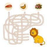 Jogo do labirinto (leão) ilustração royalty free