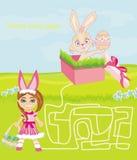 Jogo do labirinto - menina e coelhinho da Páscoa doces ilustração do vetor