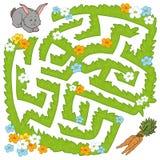 Jogo do labirinto: o coelho da ajuda obtém à cenoura ilustração stock