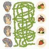 Jogo do labirinto: Ouriços da ajuda para encontrar o alimento Imagem de Stock Royalty Free