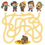 Jogo do labirinto para as crianças (caráteres dos piratas) ilustração royalty free