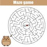 Jogo do labirinto: tema dos animais Caçoa a folha da atividade Imagem de Stock Royalty Free