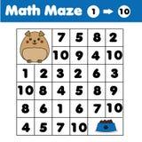 Jogo do labirinto, tema dos animais Caçoa a folha da atividade Labirinto da matemática com números Contando um a dez ilustração royalty free