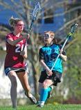 Jogo do Lacrosse das meninas HS Fotografia de Stock