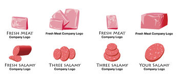 Jogo do logotipo colorido da carne e do salami Fotos de Stock