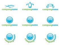 Jogo do logotipo da vida marinha Fotos de Stock