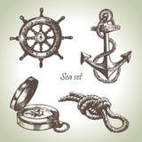 Jogo do mar de elementos náuticos do projeto Fotografia de Stock Royalty Free