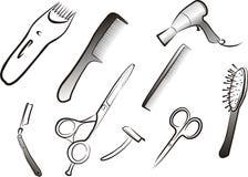 Jogo do material do hairdressing ilustração stock