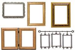 Jogo do metal antigo e do frame de retrato de madeira Foto de Stock Royalty Free