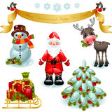 Jogo do Natal. Papai Noel com presentes e árvore Imagens de Stock