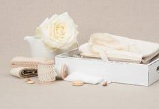 Jogo do ofício da costura e do bordado Costurando acessórios fotos de stock royalty free