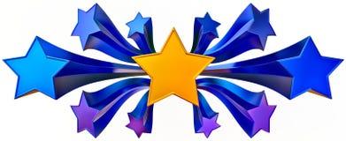 Jogo do ouro onze brilhante e de estrelas azuis Imagem de Stock Royalty Free