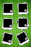Jogo do photoframe com esfera de futebol Fotos de Stock Royalty Free