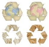 Jogo do símbolo de recicl de papel isolado Imagens de Stock